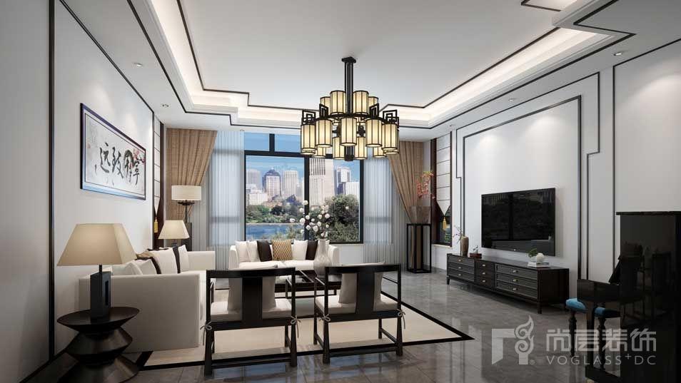 艾力枫社新中式客厅别墅装修效果图