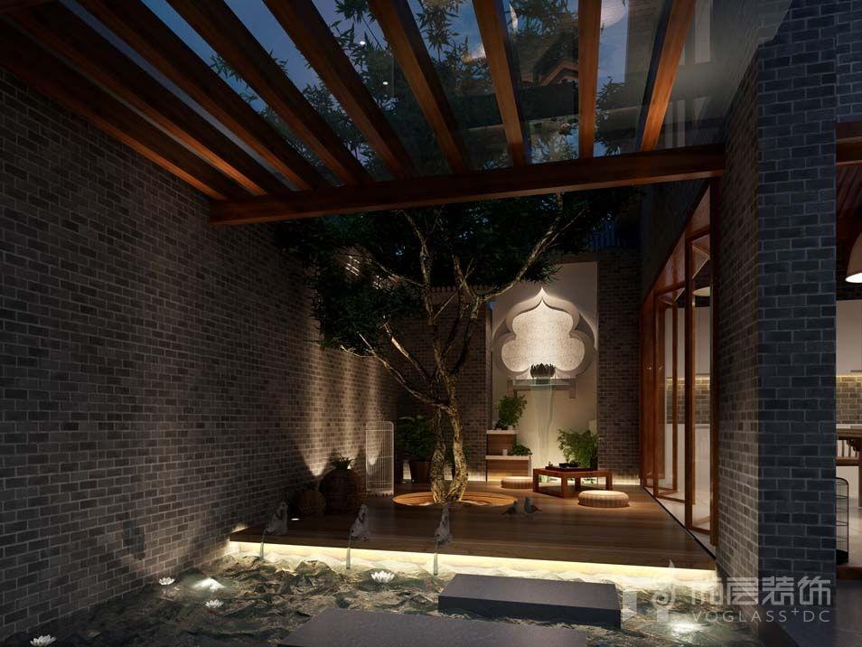 朝阳门四合院新中式地下庭院别墅装修效果图