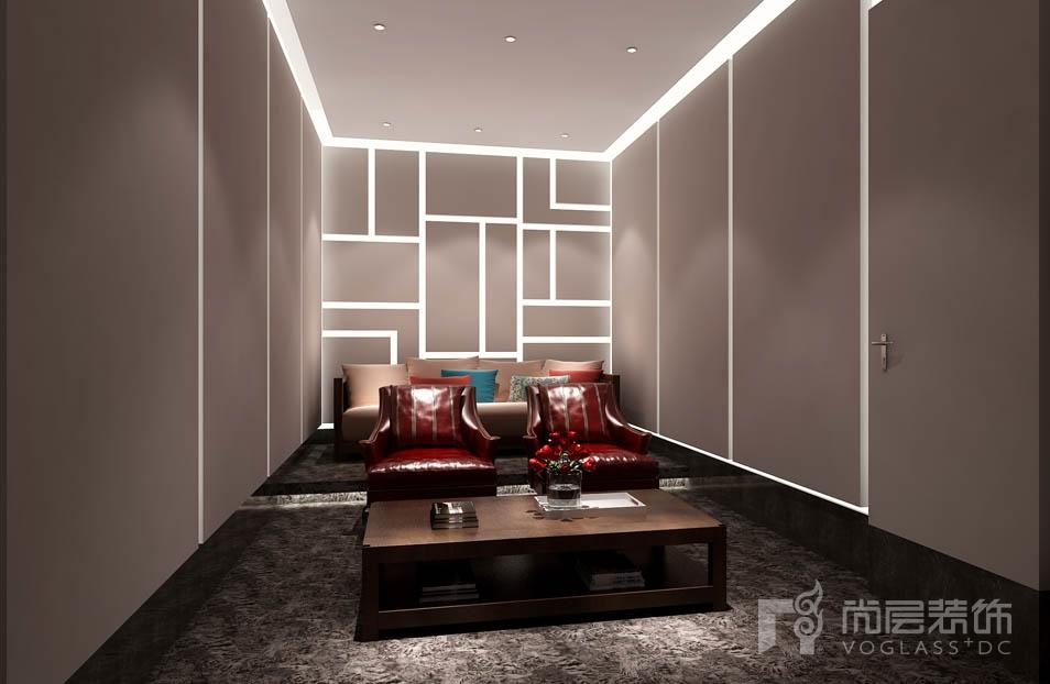 北京院子新中式影音室别墅装修效果图
