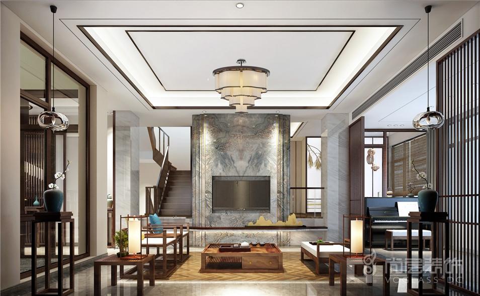 星岛仁恒新中式风格300平米联排别墅装修设计案例_图