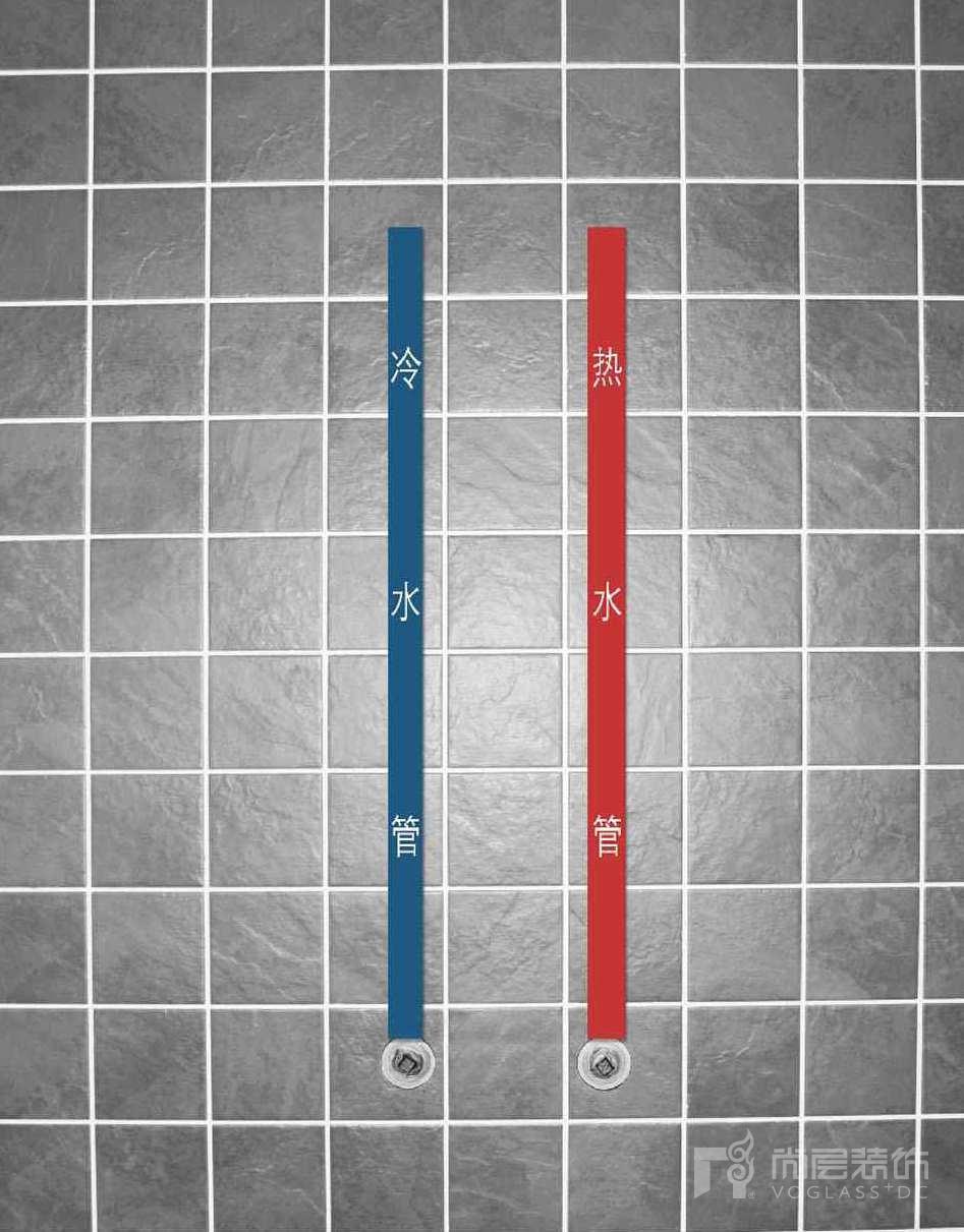 尚层装饰热水和冷水管标示
