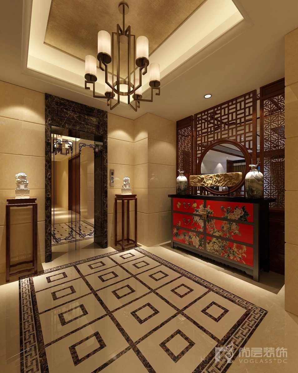 卡尔生活馆中式电梯厅别墅装修效果图