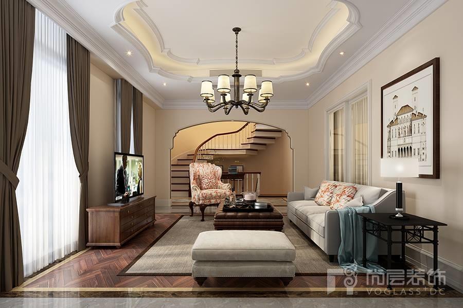 溪上玫瑰园客厅美式风格装修效果图