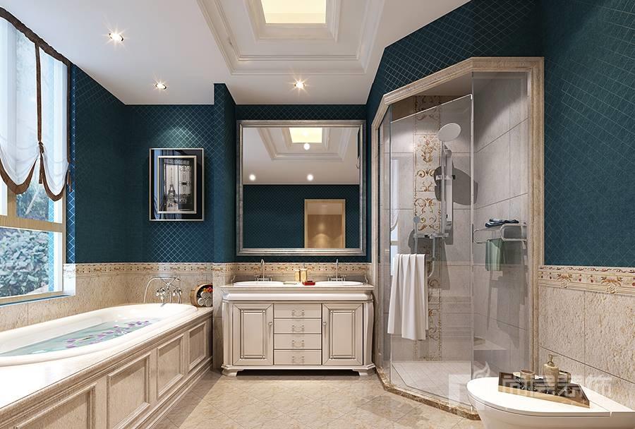 溪上玫瑰园美式风格卫浴间装修效果图