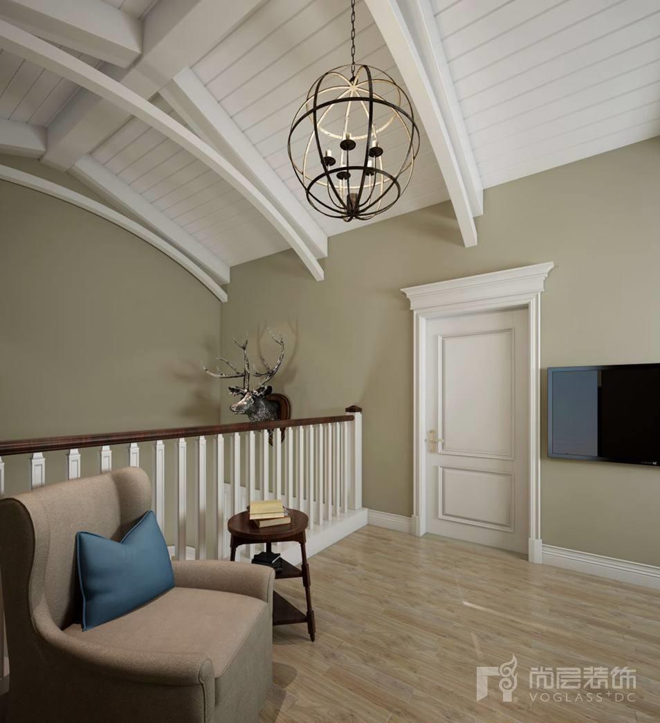 君山高尔夫现代美式起居室别墅装修效果图