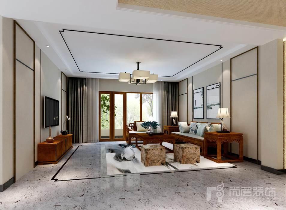 千章墅新中式客厅别墅装修效果图