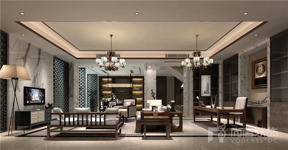 苏州黄金水岸现代中式风格360平米别墅装修设计案例