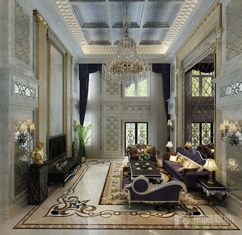 嘉禾一方新古典客厅别墅装修效果图