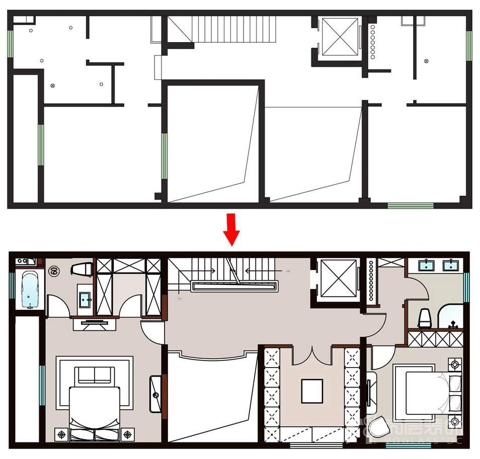尚层装饰远洋天著别墅装修二层空间规划
