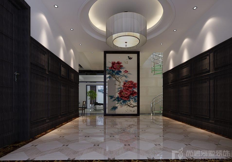 蓝园新中式门厅别墅装修效果图