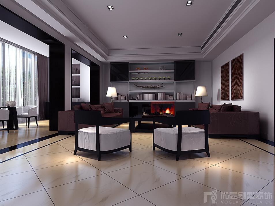 蓝园新中式会客厅别墅装修效果图