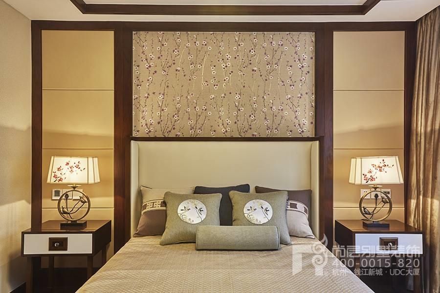 梦湖山庄新中式风格卧室装修实景图