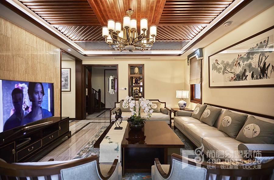 梦湖山庄500平米新中式风格客厅装修实景图