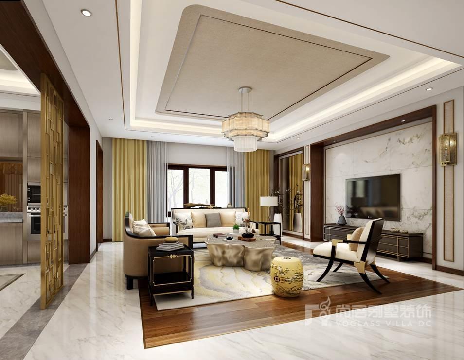 燕西华府新中式风格客厅装修效果图