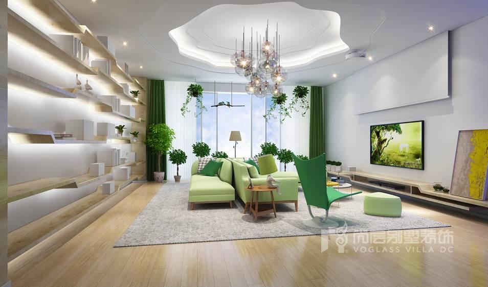 尚层装饰别墅装修方案-客厅效果图