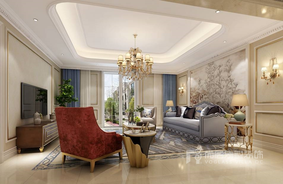 尚层装饰别墅装修方案-家庭室效果图