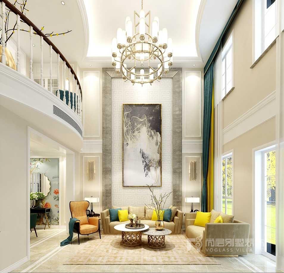 别墅软装配饰-客厅效果图