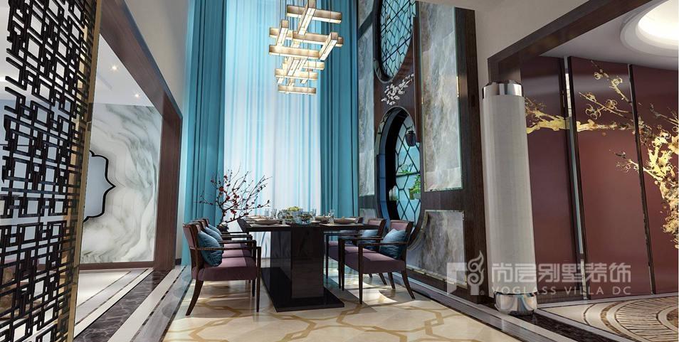 上京王府别墅新中式餐厅装修效果图