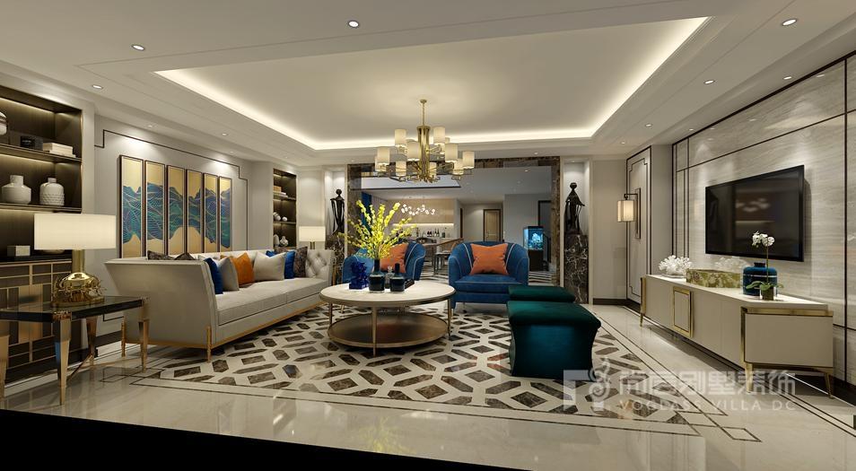 远洋天著三期别墅新中式客厅装修效果图