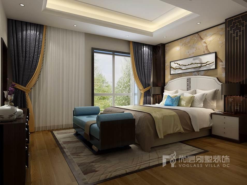 远洋天著三期别墅新中式卧室装修效果图