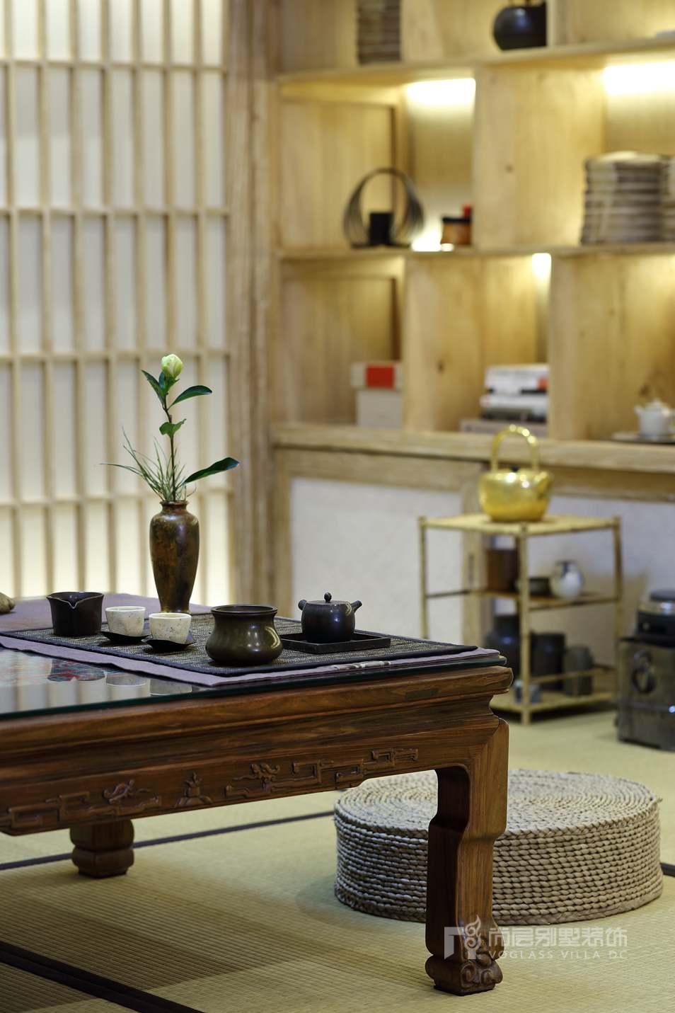北京院子别墅混搭风格茶室装修实景图