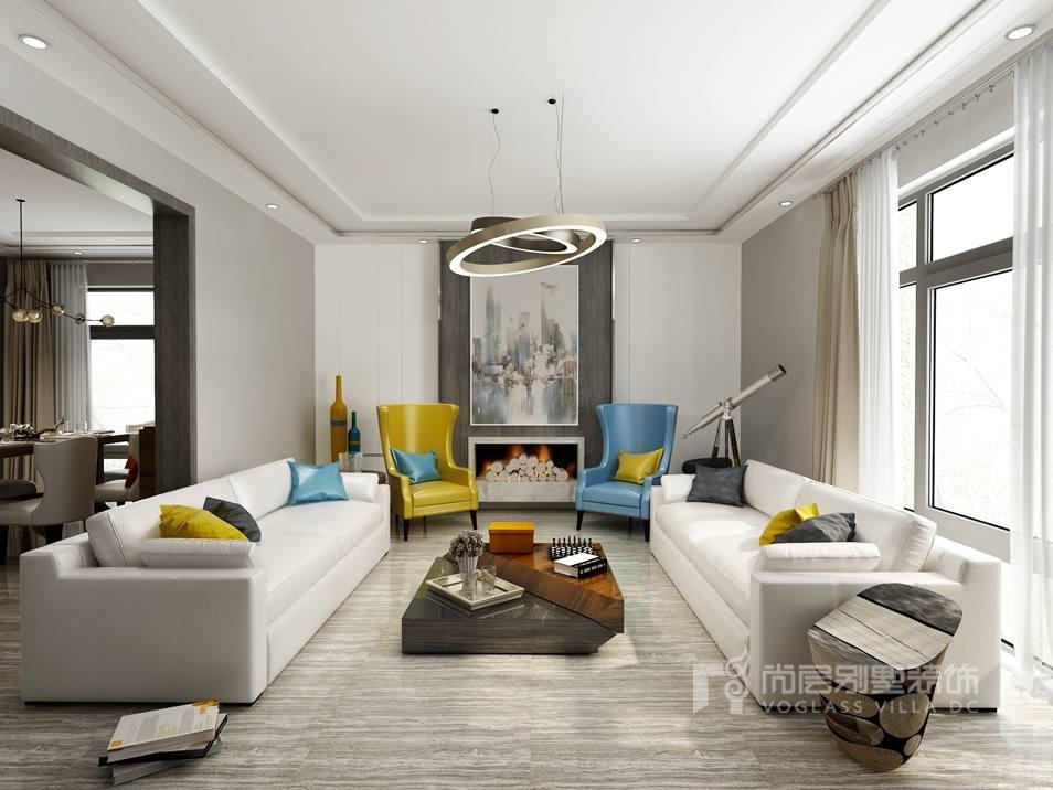 别墅空间设计-起居室效果图