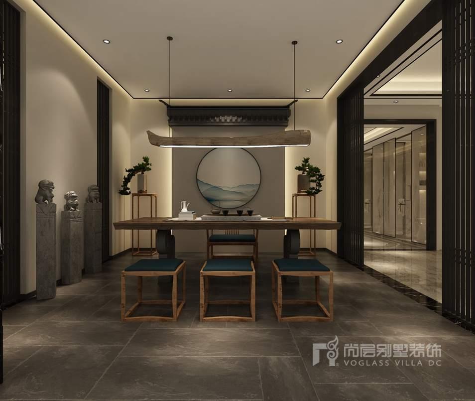 棕榈滩别墅新中式风格茶室装修效果图