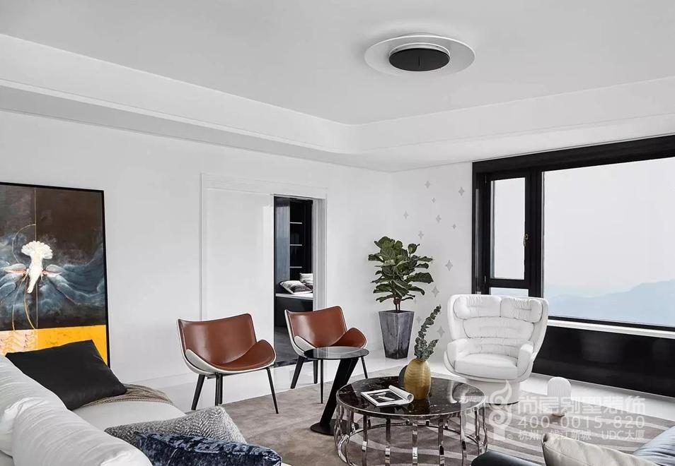 客厅黑白灰装修设计实景图