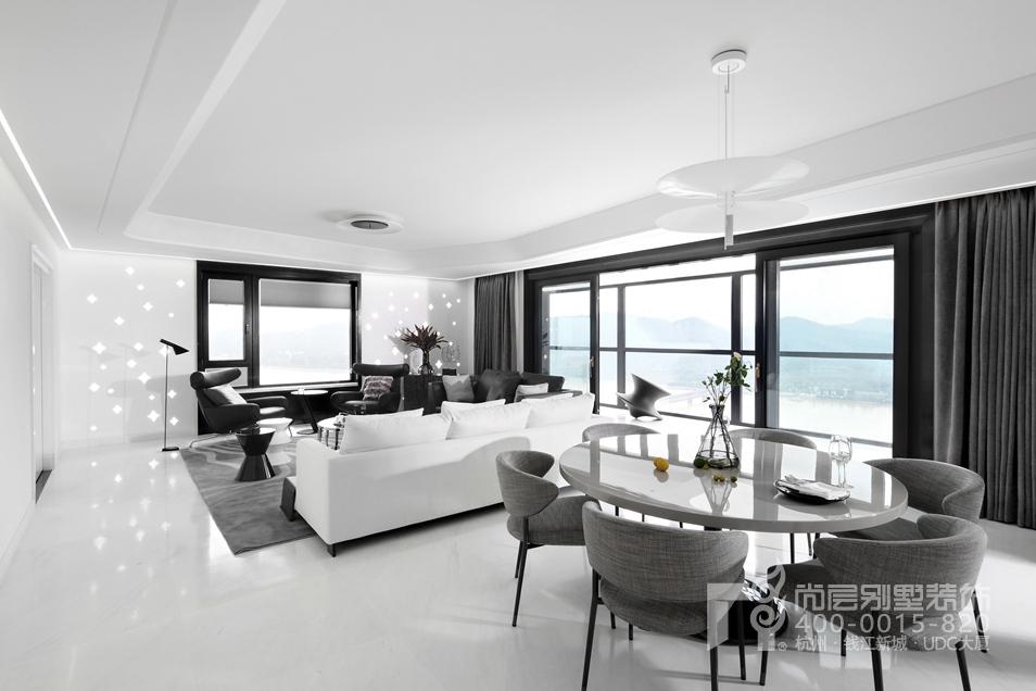 客餐厅黑白灰装修设计实景图