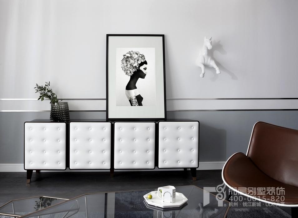 客厅细节搭配黑白灰装修设计实景图