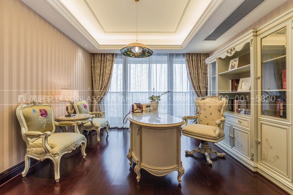 欧式新古典风格书房实景图-尚层软装