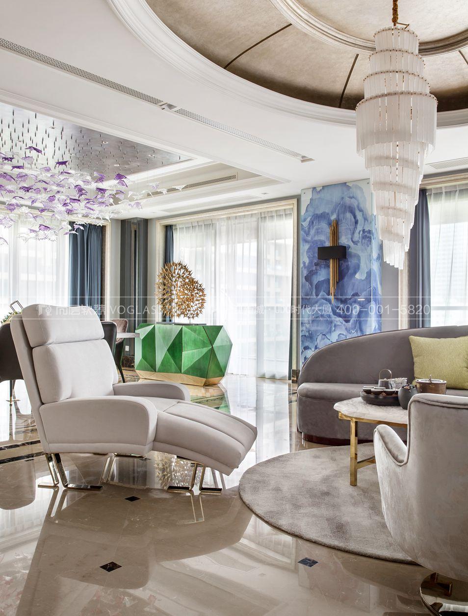 现代轻奢风格案例-客厅实景图-尚层软装