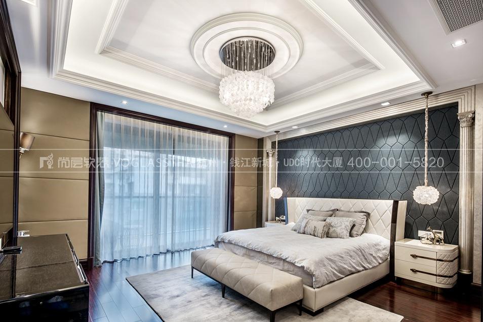 现代轻奢风格案例-卧室实景图-尚层软装