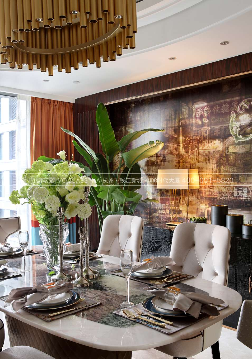 港式轻奢风格软装案例-餐厅实景图-尚层软装
