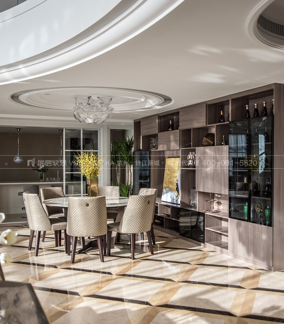 現代輕奢風格軟裝案例-餐廳實景圖-尚層軟裝