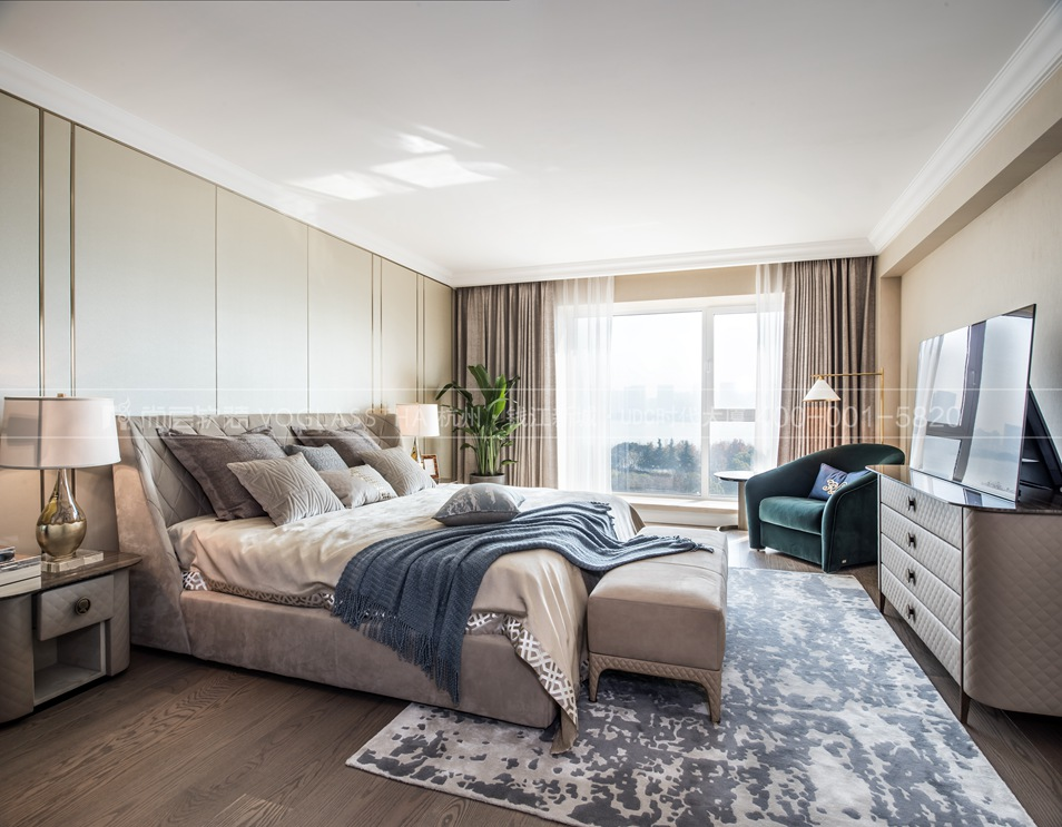 現代輕奢風格軟裝設計案例,臥室實景圖,尚層軟裝