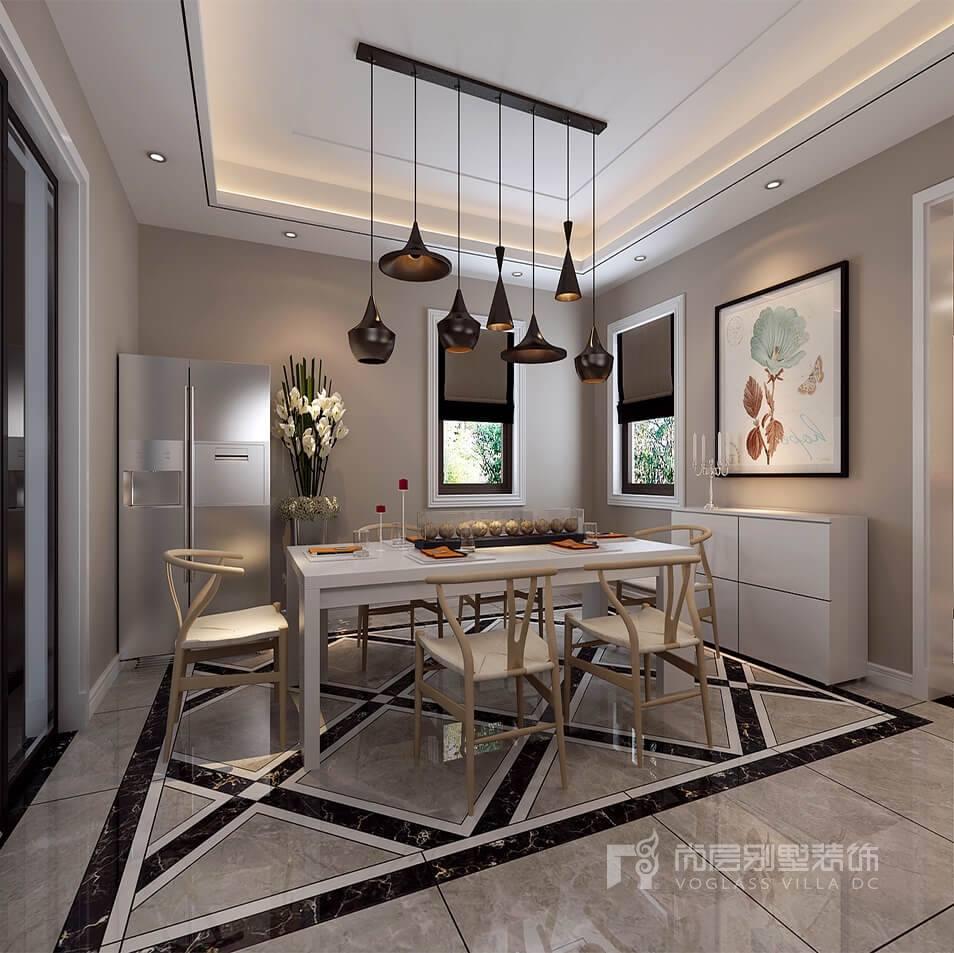天圆地方的设计加上中式吊灯,平衡了地板和吊顶的格局.图片