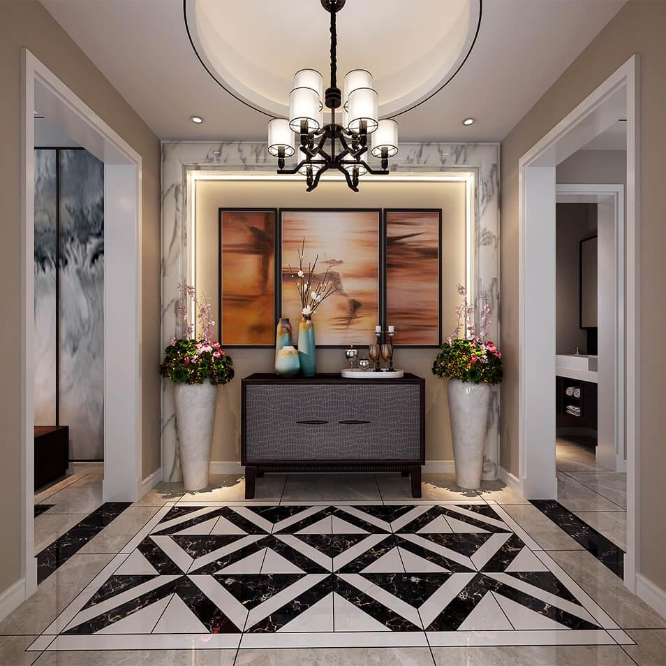 简于形动静相宜-五矿正信林溪地  简约时尚的客厅融入中式的水墨,大片图片