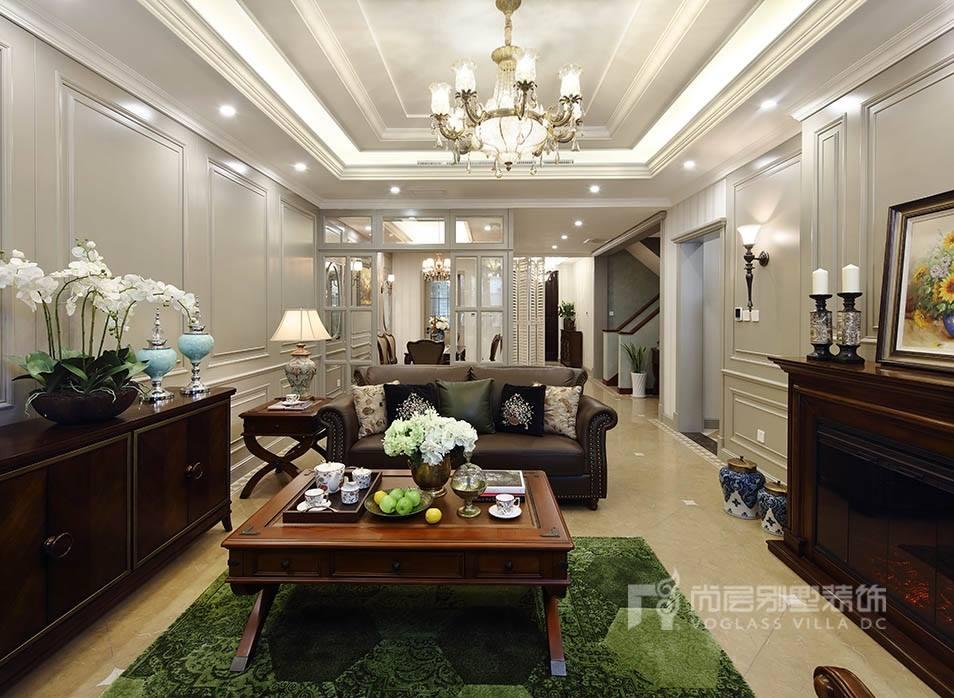 枫丹壹号美式风格客厅装修案例图