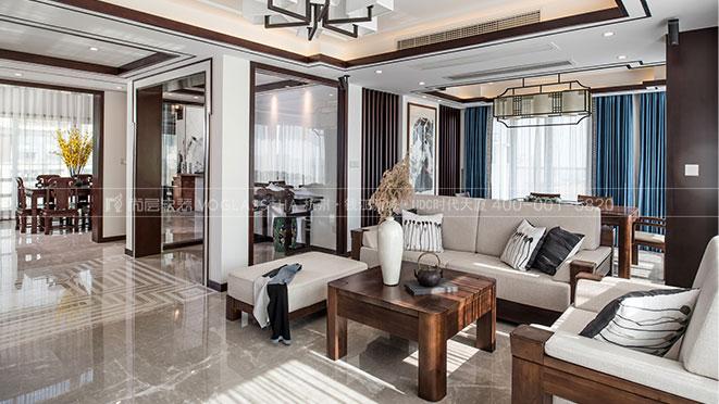新中式风格软装实景图案例-杭州尚层软装
