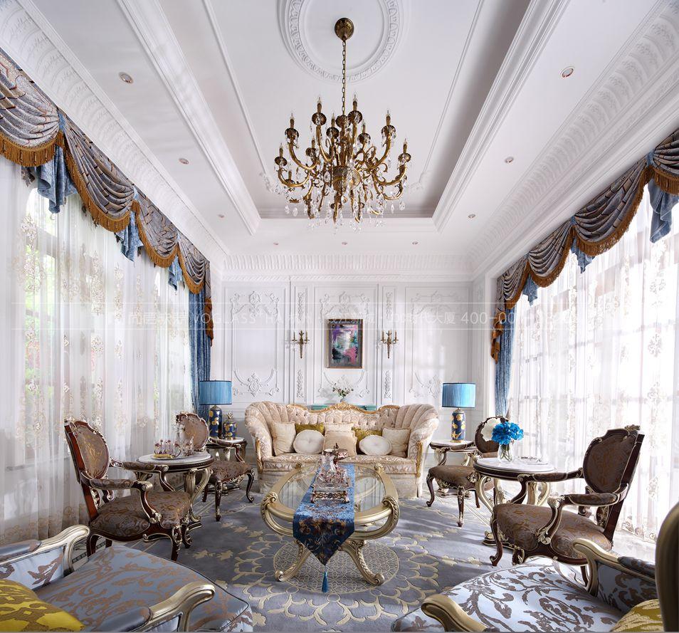 法式风格客厅实景图-杭州尚层软装