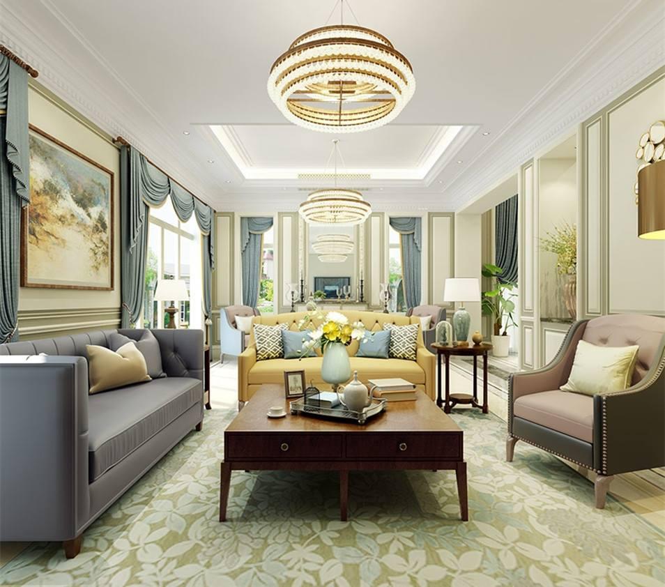 西溪融庄法式客厅风格装修效果图_尚层装饰案例