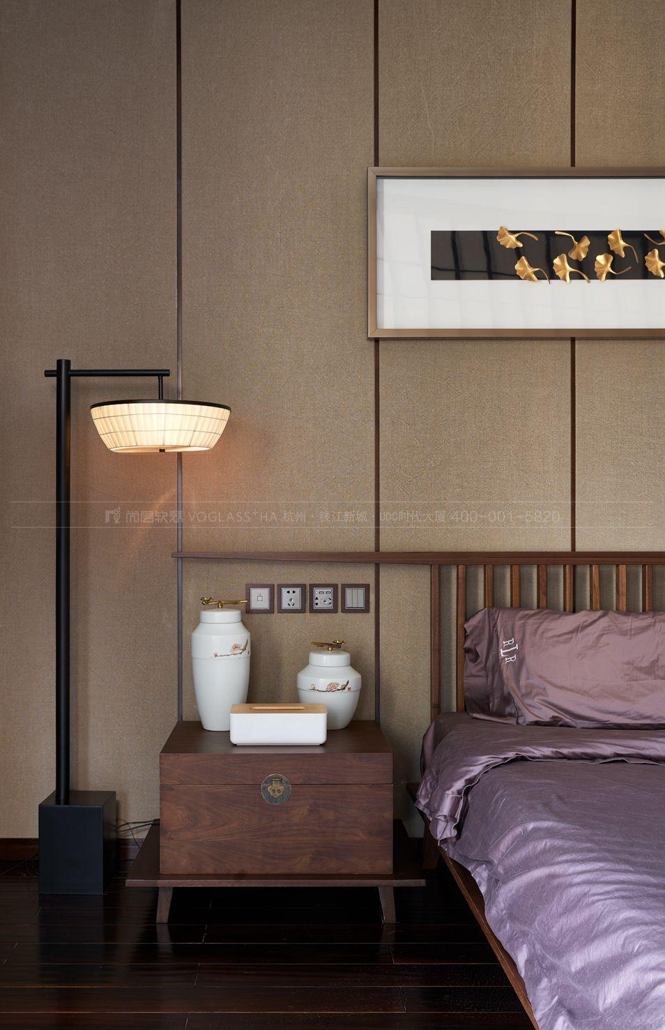 卧室软装实景图-新中式软装风格-杭州尚层软装
