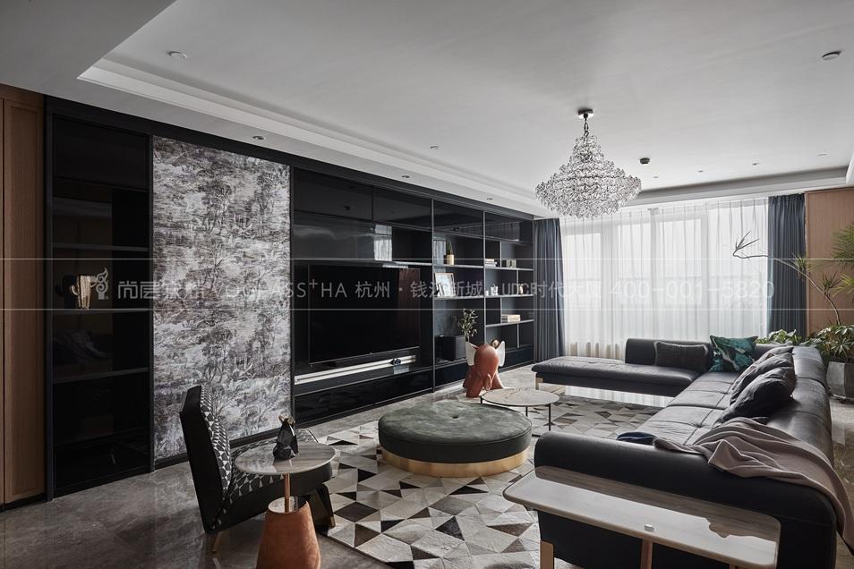杭州軟裝公司-現代軟裝風格客廳實景圖-杭州尚層軟裝