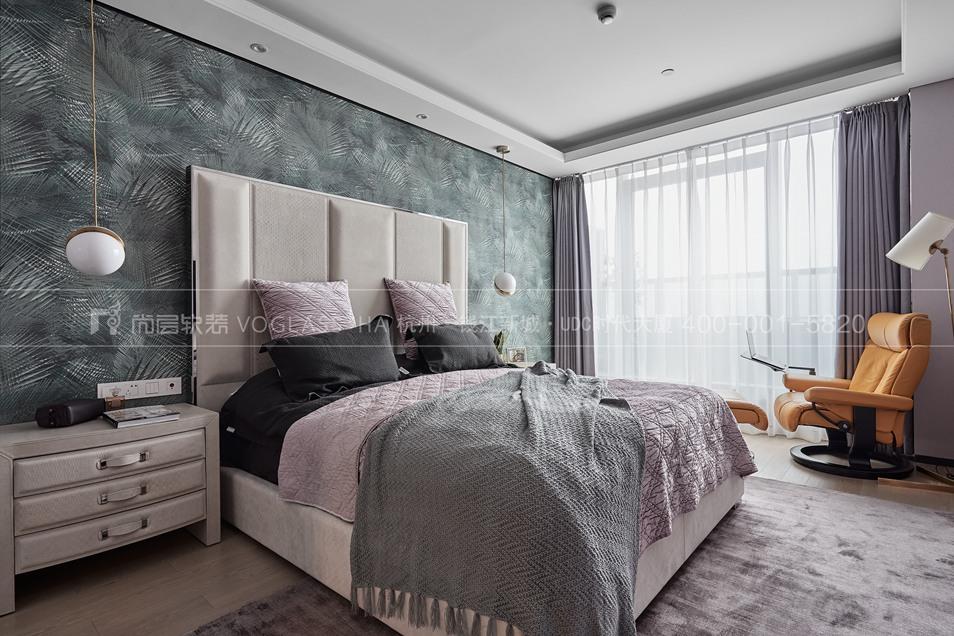 杭州軟裝公司-現代軟裝風格臥室實景圖-杭州尚層軟裝