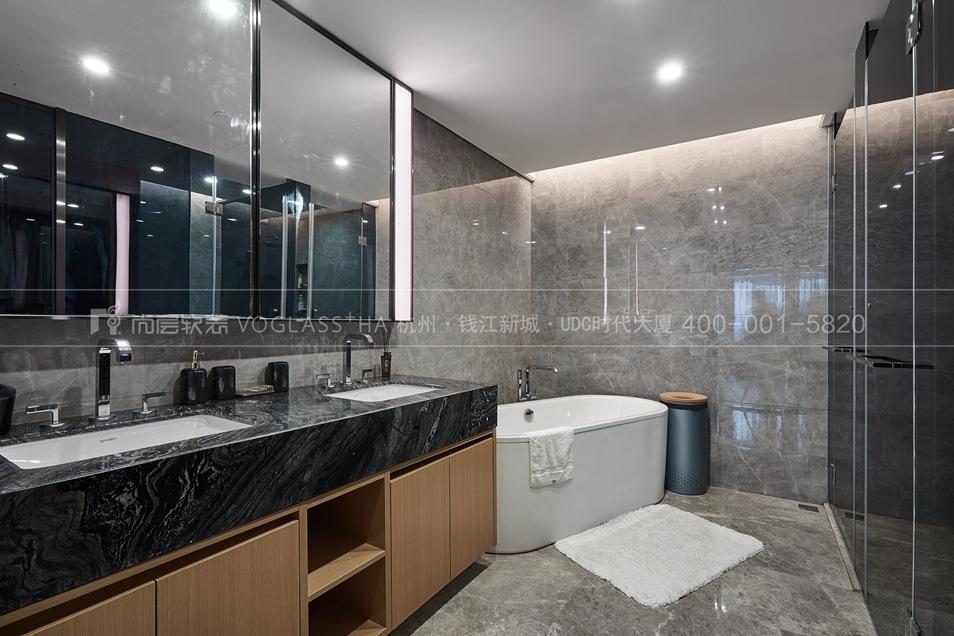杭州軟裝公司-現代軟裝風格衛浴間實景圖-杭州尚層軟裝