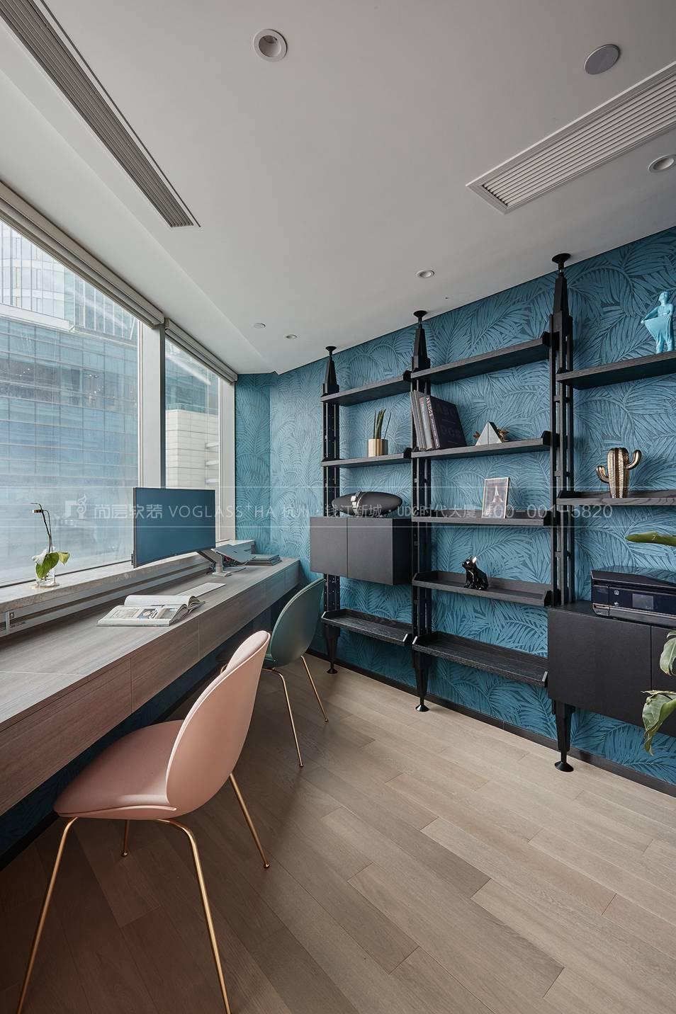 書房軟裝設計-現代風格軟裝實景圖-杭州尚層軟裝