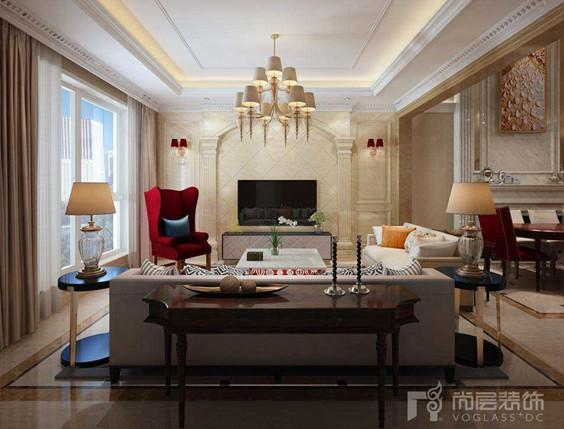 客厅延续餐厅的基调,造型优雅的欧式红色座椅与精致唯美的红色