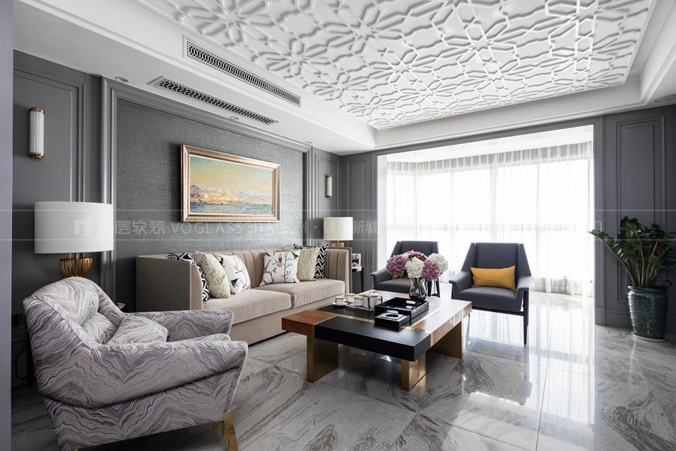 简欧风格软装设计方案,客厅软装设计实景图,杭州软装公司,尚层软装