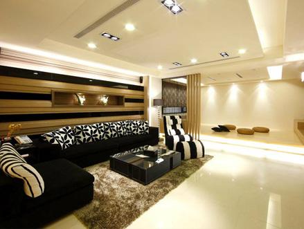 现代独栋别墅客厅装修效果图 空间感无限延伸